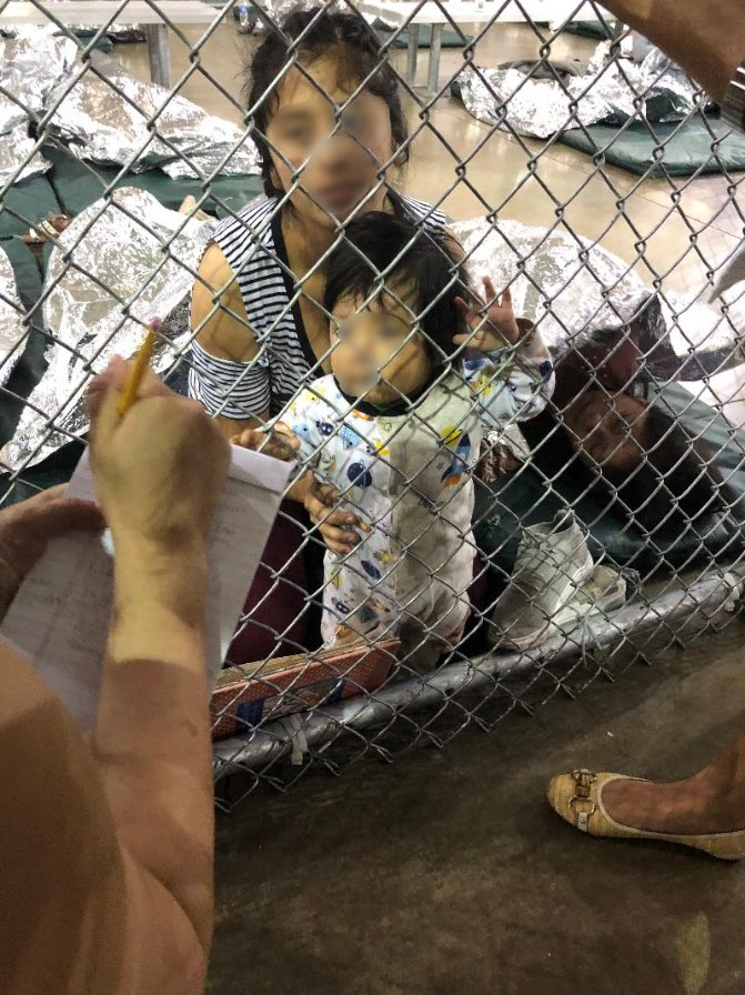 Woman-and-toddler migrants detained at the Ursula detention center in McAllen, Texas, the United States. Photo credit: Jackie Speier